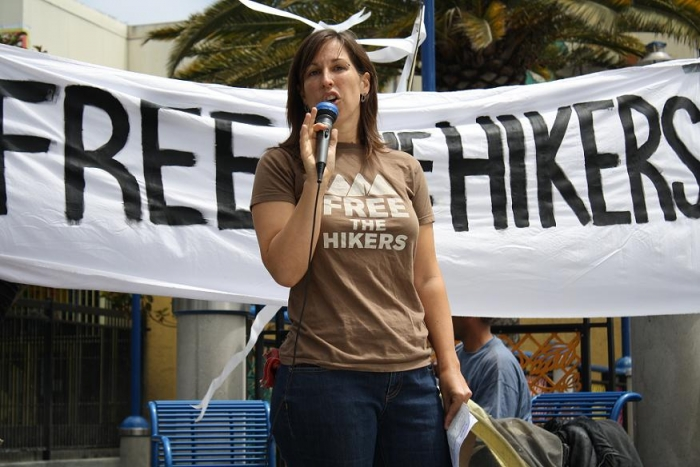 Photo: Margaret Roberts leads a rally for the imprisoned hikers in San Francisco on Saturday July 31, 2010.