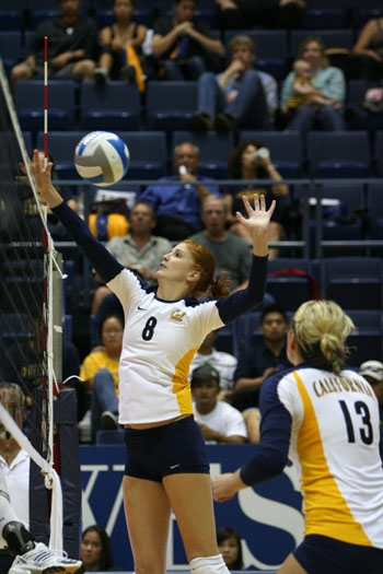 Photo: Correy Johnson led the Cal volleyball team with 11 blocks in the team's two victories this past weekend. The sophomore may be the most critical part of Cal's net defense this year.