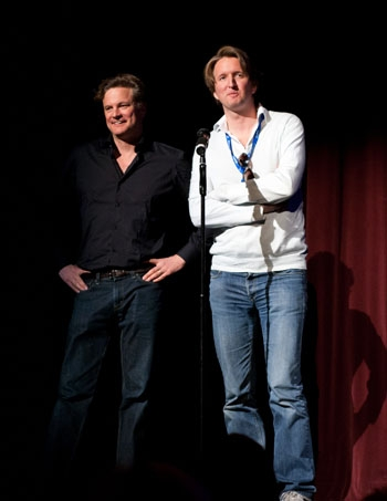 Photo: The king and I. Colin Firth and director Tom Hooper presented 'The King's Speech' at Telluride, which features Firth as King George VI and Geoffrey Rush as a speech therapist.