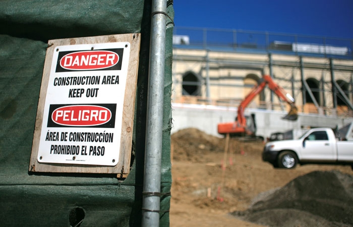 Photo: Construction signs at Memorial Stadium caution passersby to avoid the area. The renovation of California Memorial Stadium has been allowed to proceed with a new bill that exempts it from a previous bill against fault line construction.