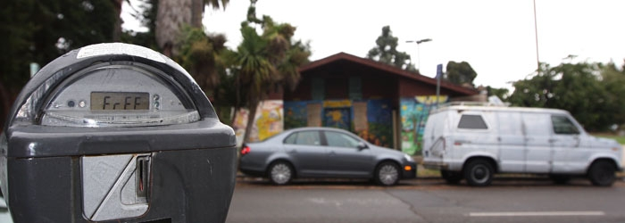 Photo: Parking meters, such as this one across from People's Park, are few in number in the streets around the park. The city is considering changing this current dearth in metered parking.