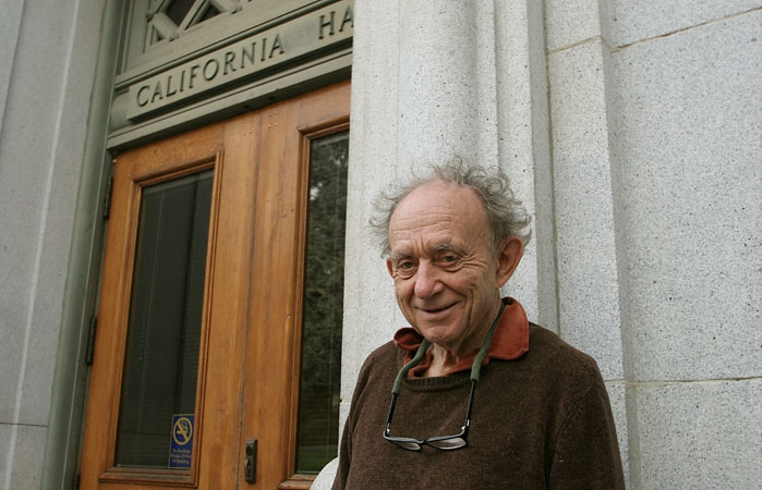 Photo: Documentarian Frederick Wiseman stands in front of California Hall at UC Berkeley. The university is the subject of his upcoming documentary.