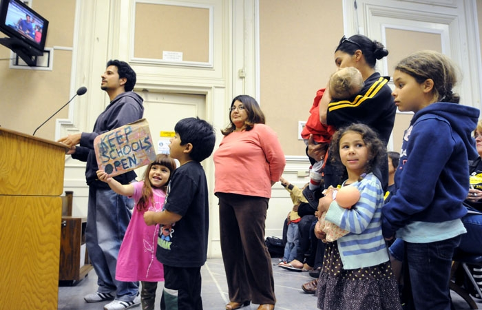 Photo: Parents and teachers voiced concern about preschool funding cuts at the Berkeley Unified School District Board of Education meeting.