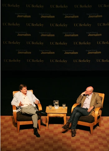 Photo: Face to face. New York Times bestselling writers Michael Pollan and Michael Lewis engage in a discourse on the state of journalism at the Berkeley Repertory Theatre.