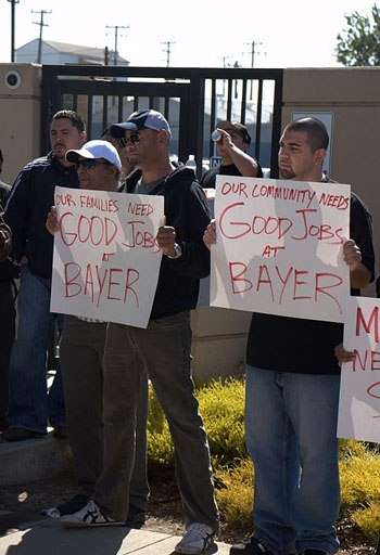 Photo: Protesters demonstrated against Bayer's layoffs of 39 workers, but their efforts in attempting to have those employees rehired may be unsuccessful.