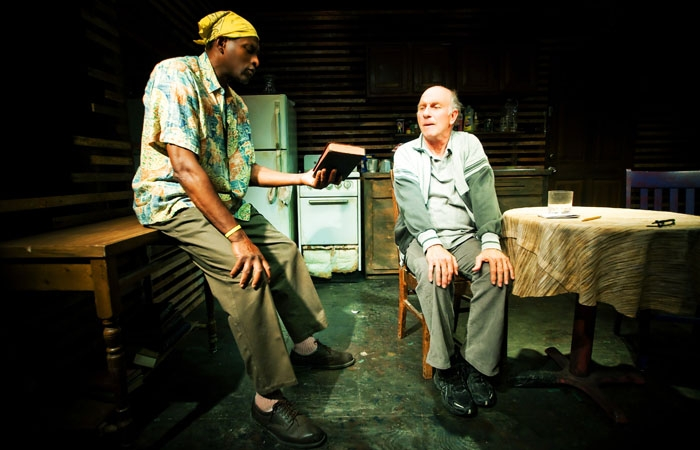 Photo: Lofty discourse. Carl Lumbly and Charles Dean star in the West Coast premiere of Cormac McCarthy's 'The Sunset Limited' at SF Playhouse.