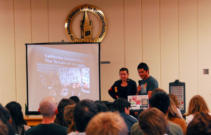 Photo: Campus faculty and students attended a teach-in on Wednesday night at the Eshleman Library, where faculty spoke out about many of the issues surrounding the upcoming protests.