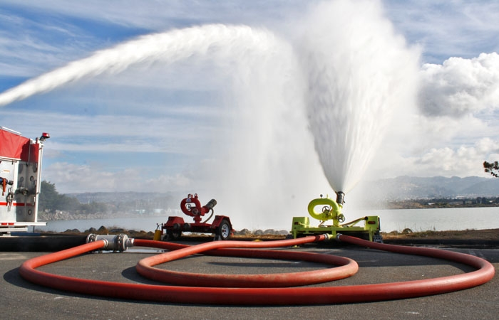 Photo: The Hytrans Fire System was demonstrated at the Berkeley Marina on Thursday. The system can deliver 6,000 gallons of water per minute over a hose six miles in length.