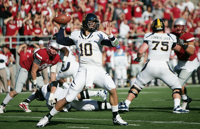 Photo: Junior Brock Mansion threw for 174 yards and two interceptions on 12-of-24 passing in his first career start. He was sacked twice.