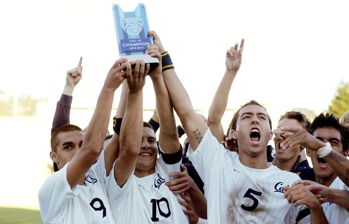 Photo: The Cal men's soccer team won its third conference championship in program history with a 3-2 victory over Stanford on Thursday.