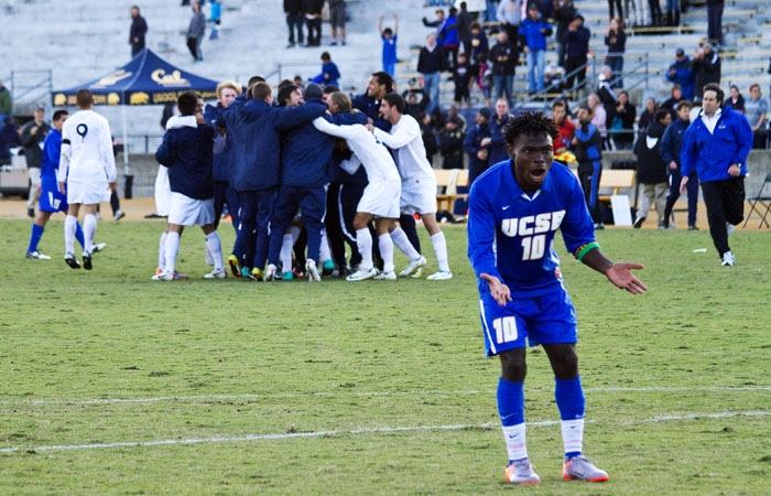 Photo: UCSB midfielder Machael David stares in disbelief after the Gauchos' 2-1 overtime loss to Cal. David was one of three UCSB players to get a red card after the game.