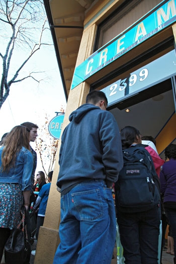 Photo: CREAM has drawn large crowds since its opening in early December. Opening as a test run just before winter break allowed the owner to evaluate the store's performance and improve operations before students returned.