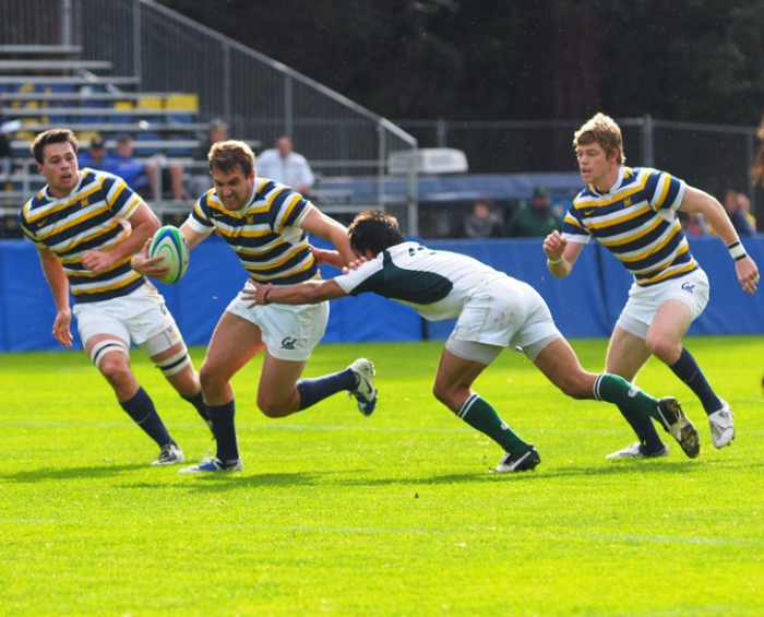 Photo: Sean Gallinger (center) and the rest of the Cal rugby team will be playing its last season as a varsity sport as it vies for another title.