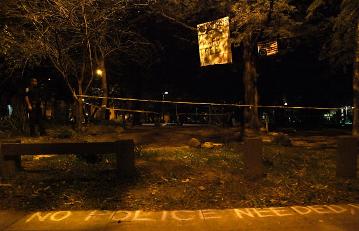 Photo: Police blocked off the area surrounding the tree that Midnight Matt is occupying.