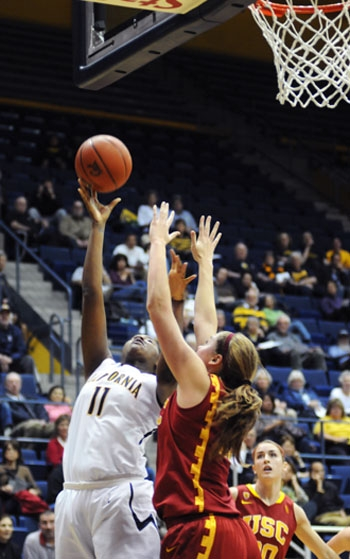 Photo: Cal forward DeNesha Stallworth leads the team in scoring with 15.4 points per game. She is also averaging 6.8 rebounds.