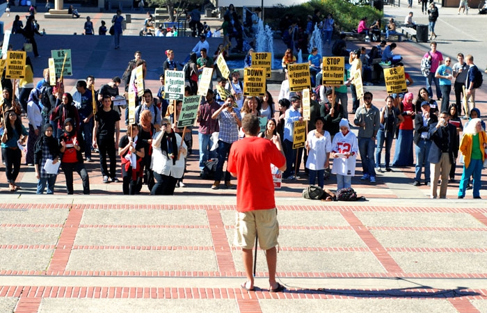 Photo: Campus groups held a demonstration on Sproul Plaza to show solidarity and raise campus awareness about the protests in Egypt.