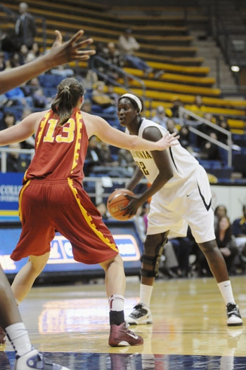 Photo: Senior center Rama N'diaye has appeared in 20 of the Bears' contests this year, averaging 13.8 minutes per game. She has contributed 72 points off the bench for Cal.
