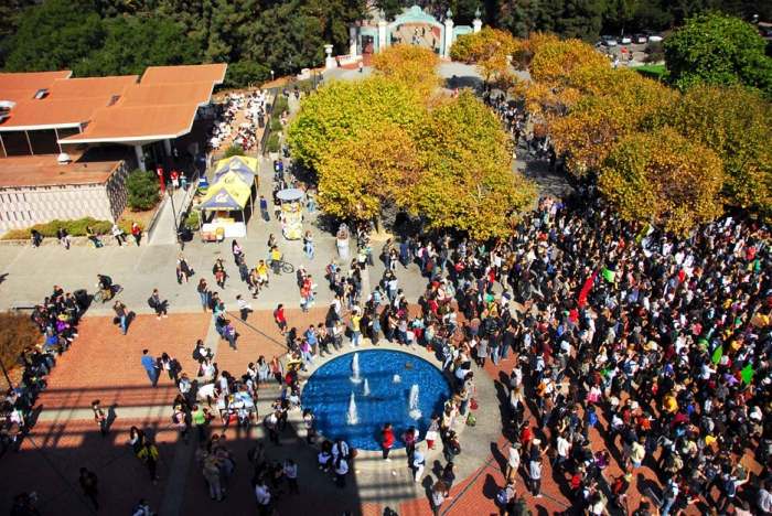 Photo: Roughly 700 UC Berkeley students, faculty, staff, and community members gathered on Upper Sproul last October for a national day of action. The protesters united to support public education, holding teach-outs, sit-ins, marches and a noon rally.