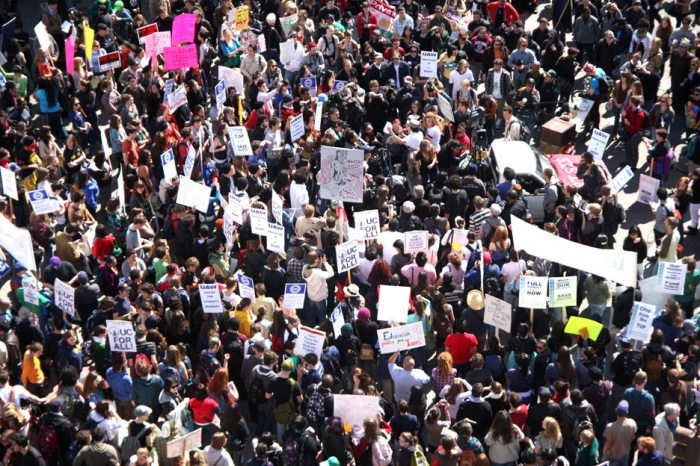 Photo: Students, union workers and protesters marched down Telegraph Avenue on March 4, 2010, attracting a crowd of nearly 1,000 that converged on Frank H. Ogawa Plaza. A rally in San Francisco brought more than 10,000 people to the Civic Center Plaza.