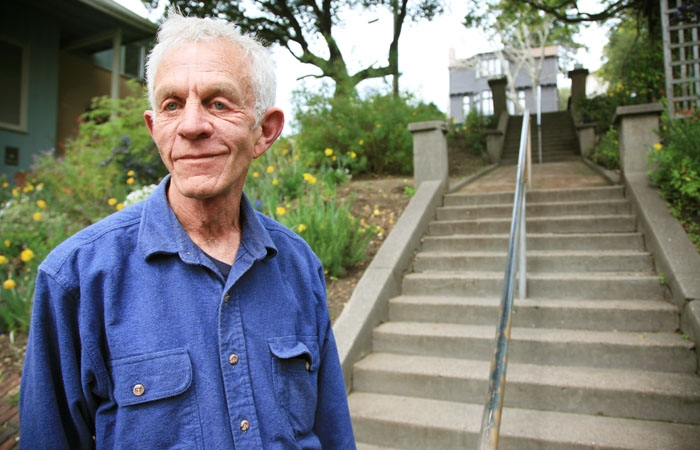 Photo: Bruce McMurray, a resident of North Berkeley, has worked to improve the condition of the Le Roy Steps with help from other community members. Yellow daffodils and wild lilac trees have now been added to line the steps.