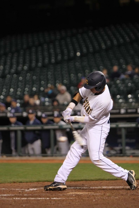 Photo: First baseman Devin Rodriguez batted a perfect 5-for-5 yesterday. The sophomore hit three doubles.
