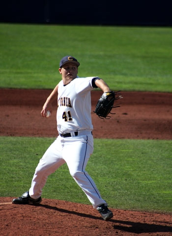 Photo: Senior Kevin Miller fanned a career-high 15 batters yesterday against USF. He now has a 0.48 ERA.