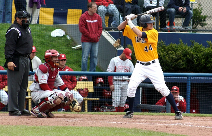 Photo: Third baseman Mitch Delfino is second among starters with a .353 batting average.