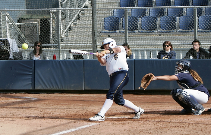 Photo: Taylor Vincent notched a hit in her only at-bat against St. Mary's on Wednesday. She was one of 12 players to reach base for the Bears, who jumped out to a sizeable lead against the Gaels and never broke a sweat at Levine-Fricke Field.
