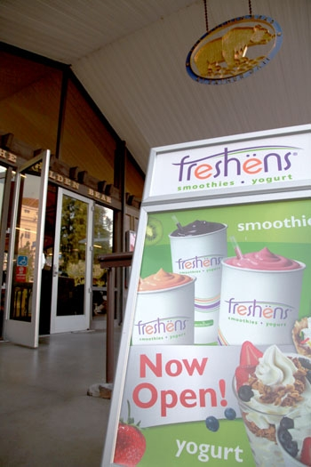 Photo: Frozen yogurt machines were recently added to the Freshens section of the Golden Bear Cafe. A sign advertises this yogurt outside the cafe.