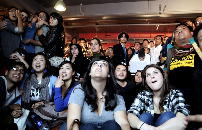 Photo: Students anxiously await the results of this year's ASUC election in the Naia Lounge Thursday night.
