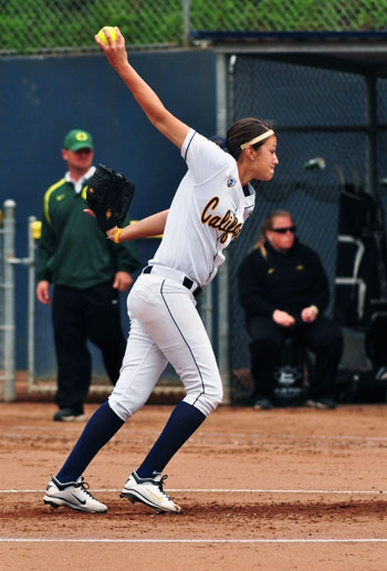 Photo: Cal pitcher Arianna Erceg threw four innings on Sunday, giving up two earned runs.