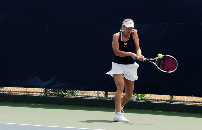 Photo: Cal's Anett Schutting earned a doubles win, but lost, 6-3, 6-0, in singles play.