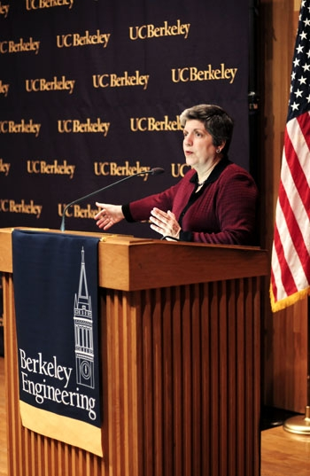 Photo: Secretary of Homeland Security Janet Napolitano visited UC Berkeley to discuss national security efforts in cyberspace.