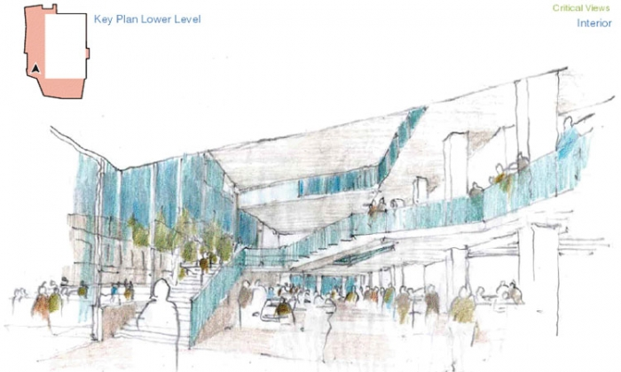 Photo: With the renovation of Lower Sproul Plaza, the inner atrium of the Martin Luther King Jr. Student Union may look like this sketch.
