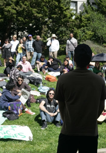Photo: Hunger strikers demonstrated in front of California Hall.
