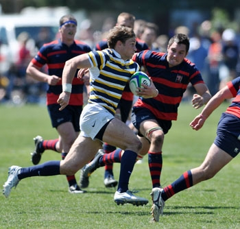 Photo: Senior wing Blaine Scully scored two tries against Utah to help advance Cal.