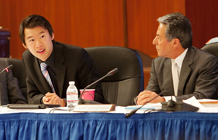 Photo: Jesse Cheng (left) speaks at a Regents meeting on Thursday, November 18, 2010.